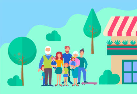 Family in the yard of his house. The concept of a happy family and well-being. Parents  weekend with the whole family. Vector illustration.  イラスト・ベクター素材