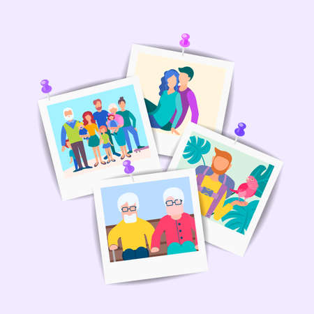 Vector Set of Pictures of elderly and young relatives and friends pinned to the wall. Happy family concept.