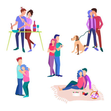 Set of vector illustrations. Couples on a walk with a dog, engaged in cooking, on a picnic, hugging, waiting for the child.