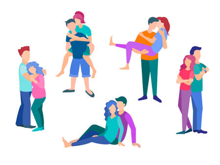 Set of vector illustrations. Loving couples hugging, having fun, posing, sitting on the ground. The concept of different poses and emotions of love and affection of young people.