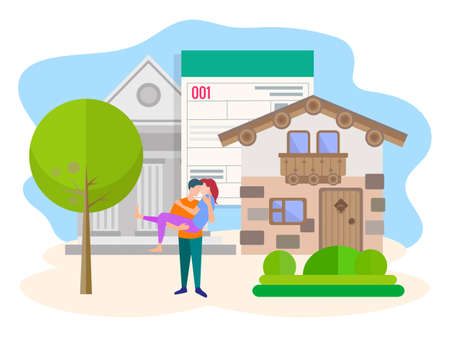 Vector illustration the Bank has approved a loan for the purchase of real estate to a young couple. The concept of purchasing real estate with the help of a Bank. Ilustração