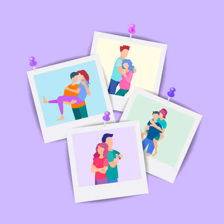 Collection of photos of loving couples, friends, family members or relatives. The concept of family photography, memorable meetings, love and friendship.