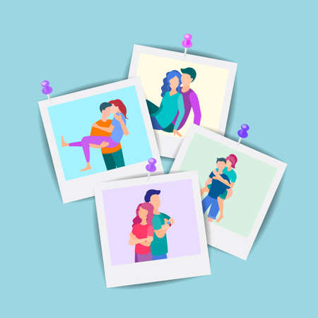 Vector illustration Set of family photos, loving couples, a set of portraits of young people. photos pinned to the wall.