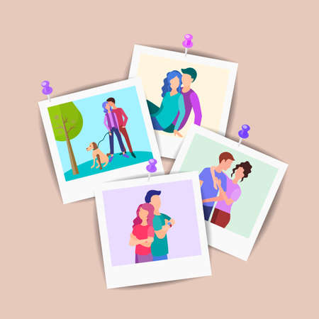 Vector illustration Set of family photos, loving couples, a set of portraits of young people. photos of young lovers pinned to the wall. Standard-Bild - 120440655