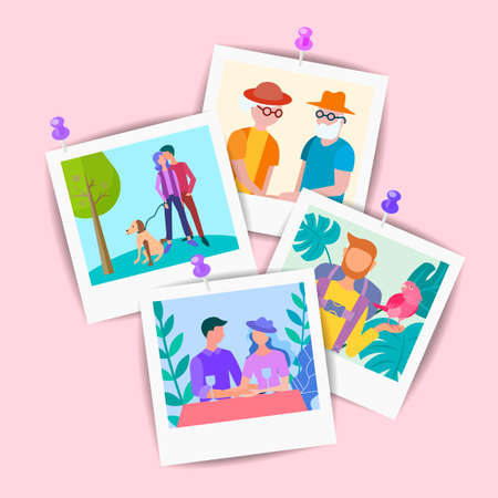 Vector Set of Pictures of elderly and young relatives and friends pinned to the wall.