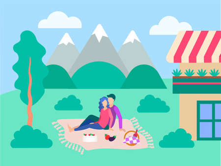 Vector illustration of a picnic on the lawn near the house. Young people dine on a mountain landscape. The concept of a happy family and outdoor recreation.