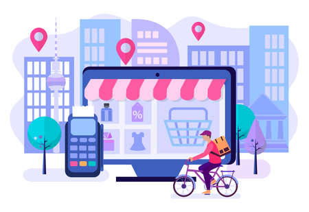 Online shopping in the online store, delivery of goods by courier and payment via the payment terminal. The concept of convenience of shopping and delivery when ordering online.