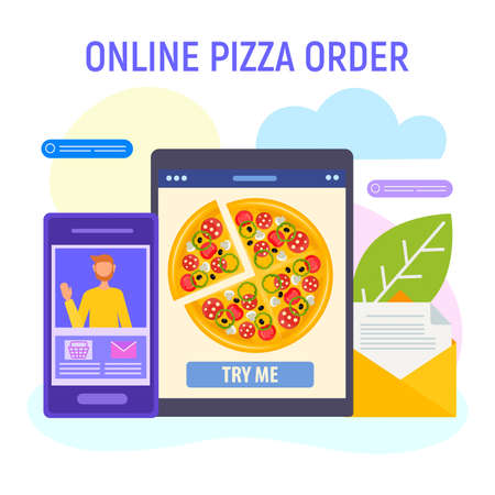 Online pizza order concept vector illustration. A customer orders a pizza online with gadgets.
