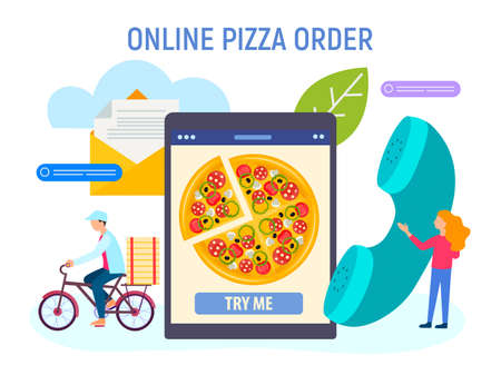 The concept of ordering pizza online, fast order taking and delivery to the client. The cyclist delivers the pizza, the worker holds the phone, taking orders, symbolizing feedback online.