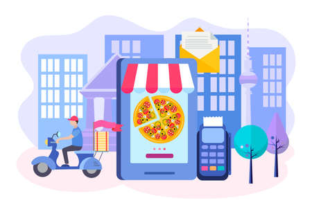 Ordering pizza online by mobile phone, delivery by courier, various payment methods, and payment through the terminal. Vector illustration.
