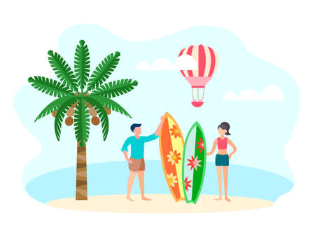 Young couple of vacationing surfers on the beach on the ocean coast, coconut palm and pink balloon on the background. Vector illustration of the travel concept.  イラスト・ベクター素材