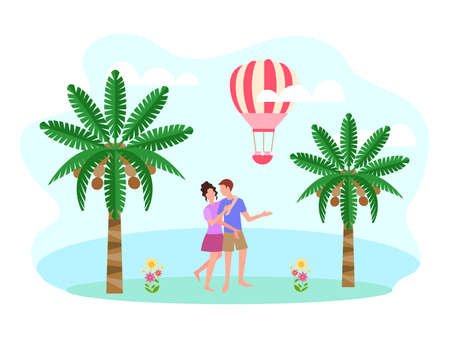 A young couple on their honeymoon by the ocean. Vector illustration of the travel concept for the design of advertising brochures, social media.