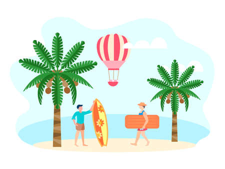 Men with surfboard and air mattress on the ocean. Vector illustration of the concept of travel and adventure in exotic countries. Ilustrace