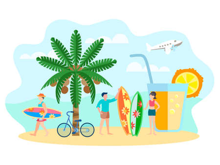 Characters surfers on the beach, a refreshing drink, coconut palm. Composition of vacationers surfers on the shore for the design of brochures and social media. Vector illustration.