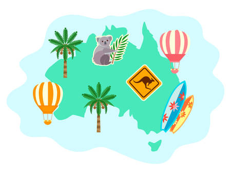 Australia silhouette with flora and fauna, palm trees, Koala and kangaroo warning sign, as well as serving boards and balloons. Concept Travel around the world for posters, banners and social media.