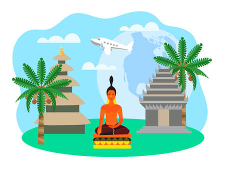 Asian, Thai, Indian, Indonesian landscape with Buddha statue and pagodas and local flora in the background. The concept of travel through the world air force, architecture and religious customs.