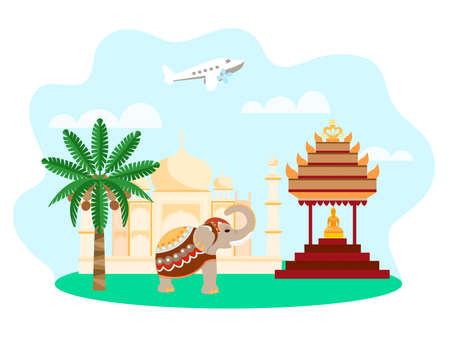 Vector illustration of Indian landscape with Indian architecture, Buddha statue, elephant, palm tree and airplane in the background. Concept travel around the world for advertising posters, banners and social media
