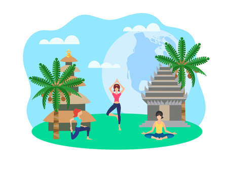 Girls doing yoga on the background of palm trees and pagodas Asian landscape Vector illustration of the concept of Travel and health