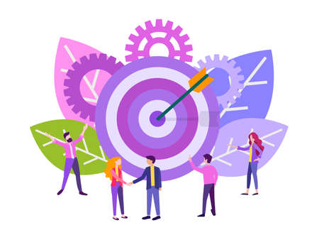 Target with an arrow, goal achievement, hit the target. Business concept vector illustration, Teamwork, Handshake business partners. 向量圖像