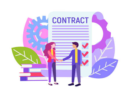 Handshake business partners, signing the contract. Little characters enter into a contract,  business partners agreement. Иллюстрация