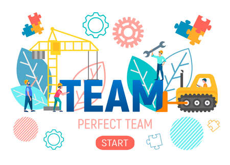 Vector illustration of the concept of teamwork. Characters build a successful business with the help of technology. Employees of the company develop business development technologies. 向量圖像