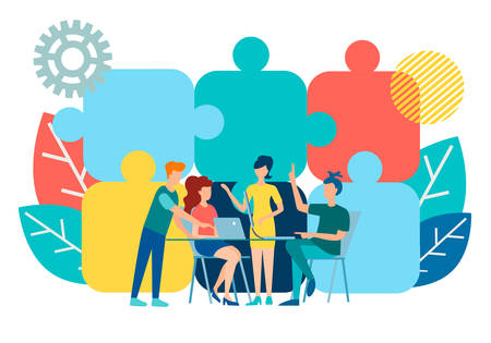 Business negotiations, discussion of employees in the office and the background of puzzles as parts of the whole. Vector illustration of the concept of effective negotiations. Иллюстрация
