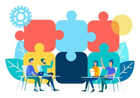 Las conversaciones en la oficina sobre la imagen de fondo de rompecabezas que simbolizan negociaciones efectivas. Ilustración de vector de concepto de trabajo en equipo de negocios.