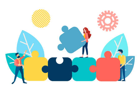 Teamwork concept vector illustration. Employees assemble a puzzle symbolizing parts of an effective workflow.
