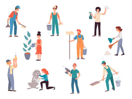 Men and women doing housework, the concept of housework. Woman wipes the window glass, caring for the dog, sweeping the floor, watering the plant. A man with a drill, screws a light bulb, washes the floor, collects litter. Vector illustration. Stok Fotoğraf - 131568530