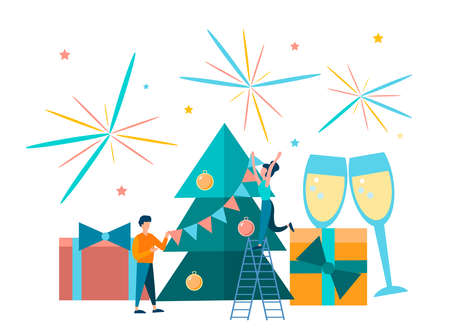 A young couple decorates a Christmas tree, near which gifts and glasses with champagne. New Year and Christmas celebrations. Vector illustration