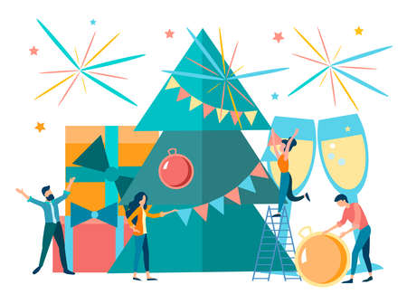 Corporate party in the office, concept corporate party, New Year and Christmas celebration in a friendly team. Vector illustration