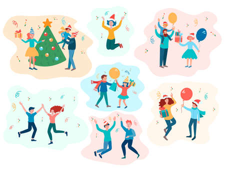 Happy family people with children celebrate New Year and Christmas, stories from the holiday pastime. Vector illustration Banque d'images - 133155464