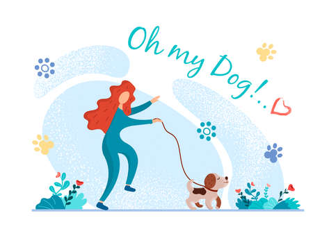 Cheerful girl walking her dog. Puppy on a walk. Joking caption Oh my dog!.. Vector illustration for postcards, stickers, posters and social media design.