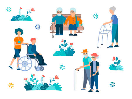 People with disabilities, pensioners Vector Illustration Elderly couples, a man in a wheelchair and a helping nurse. 向量圖像
