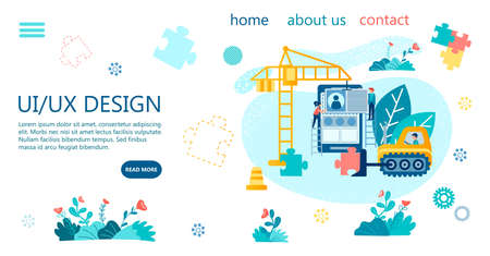 UI UX Design Concept Vector Illustration Tiny people with the help of construction machinery excavator and crane as symbols of building software electronic gadgets build design and program application Illustration