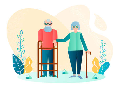 Handicapped elderly couple vector illustration. An elderly man moves with the help of a walker, hand of his elderly wife on his hand Ilustracja