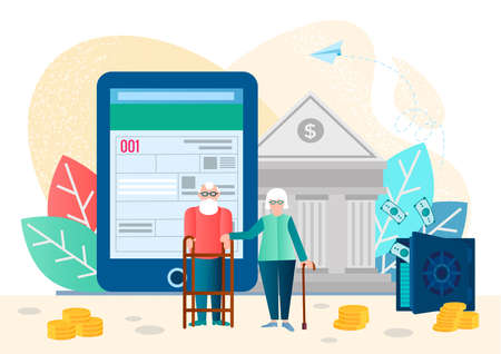 Pension service, retirement planning investment vector illustration. Filling in bank documents online, help of bank staff. Lending and financial assistance to pensioners concept  illustration.