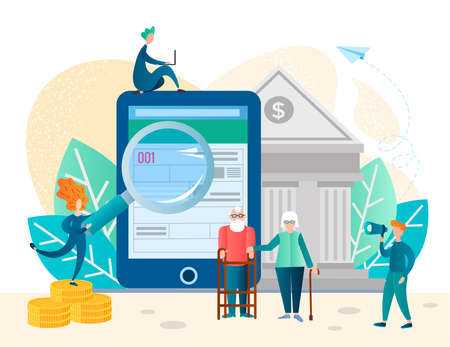Pension savings and planning concept illustration with elderly couple, Income growth chart, banking services. Loan for pensioners, retirement savings, assistance in filling out documents