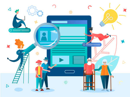 Filling out the questionnaire online using gadgets by retirees. Social assistance, social benefits, assistance in the employment of pensioners. Support and social protection illustration