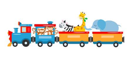 The concept vector illustration is entertainment, travel, circus show. A kids train with animals, elephant, giraffe, zebra, lions, panda, lemur travel by train. Vector illustration