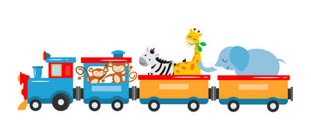 The concept vector illustration is entertainment, travel, circus show. A kids train with animals, elephant, giraffe, zebra, lions, panda, lemur travel by train. Vector illustration