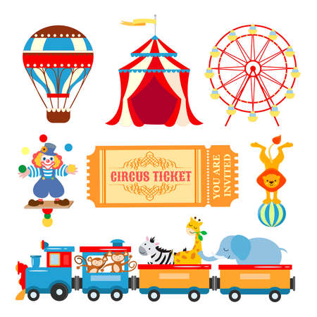 Elements for graphic design of the poster and invitation card for circus performances, children entertainment events, fair events with artists and trained animals. Circus tent, Ferris wheel, juggling clown, ticket to the circus, train with animals.
