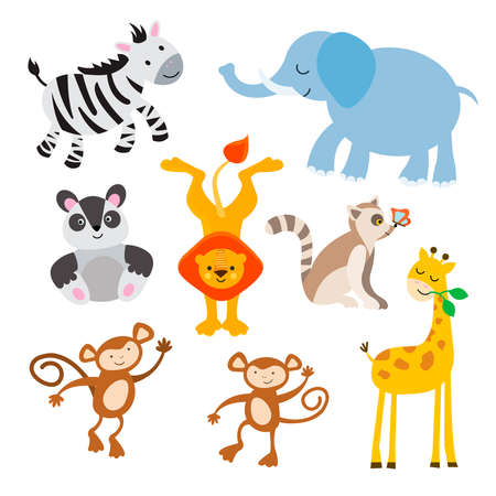 Zebra, elephant, panda, lion, lemur with a butterfly on its nose, monkeys and giraffe. Set of jungle animals for the design of childrens posters, game win award certificates. Vector illustration, isolated objects.