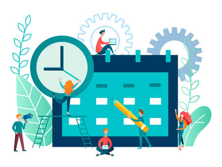 vector illustration time management concept. employees of the company's team plan the workflow and organize the work time using electronic applications and modern technologies  イラスト・ベクター素材
