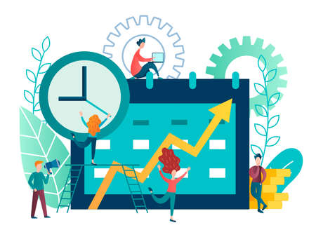 vector illustration business concept. tiny people plan work events and organize the process of working in a team using the organizer app in an electronic gadget