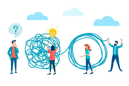 vector illustration brainstorming, psychological help concept. people experiencing problems and asking questions unravel the tangled rope, the symbol of the found solution, the search for a solution to problems.