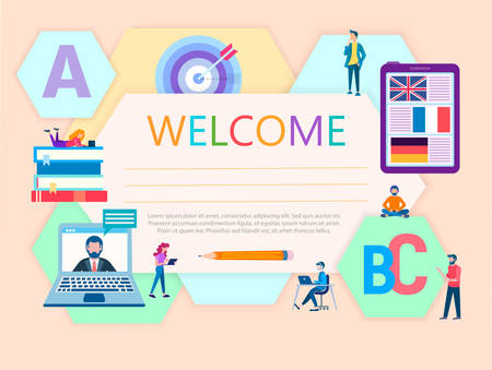 vector illustration diploma of language courses concept online education certificate of participants in language training
