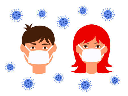 vector illustration young man and girl in medical masks protection from the virus, coronavirus epidemic concept, caution and self-defense stop the virus 写真素材 - 142231683