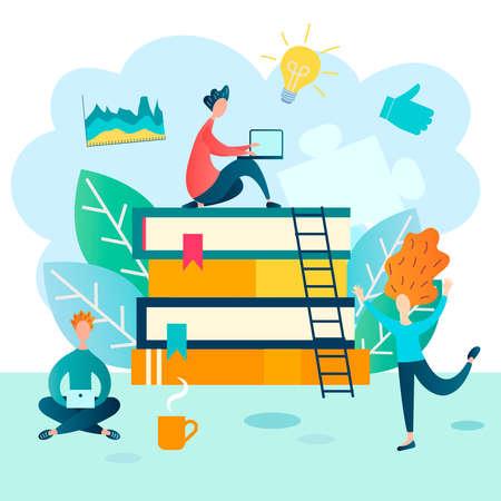 Work online, home training vector illustration concept Teamwork over the Internet