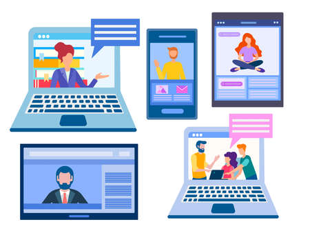 Vector illustration on the theme remote work and training set of gadgets with people on screens